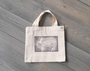 Mini tote bag, Reusable gift bag, Kids tote, Lunch bag, Eco-friendly, Boho bag, Purple block print tote, Canvas tote bag