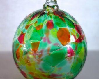 Handblown Glass Ornament-Green with multi-frit