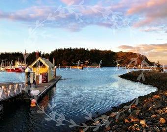 Sunset on the Docks at Cap Sante Marina- PNW Digital Downloadable Art