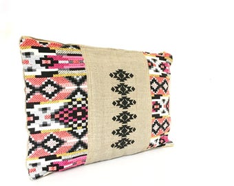 """Large size linen and cotton clutch """"Kalana"""" with metal zip / summer clutch / evening clutch/ wedding"""