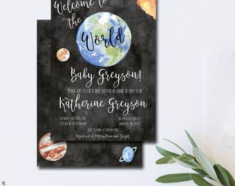 Baby Shower Invitation Boy Outer Space Invitation Space Baby Shower Invitation Welcome to the World Baby Shower  Astronaut Baby Shower