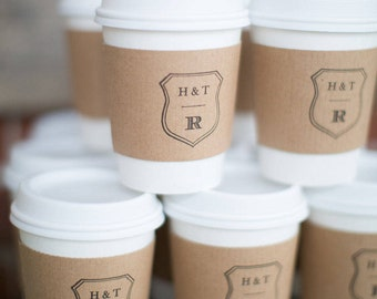 Set of 50 - Personalized Paper Cups, Lids and Custom Sleeve - Coffee Bar - Hot Chocolate Favors