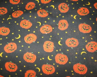 "Halloween Fabric--Jack O' Lanterns With Moons And Stars--44"" by 25"""