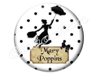 2 cabochons 18mm glass, Mary Poppins, black and white polka dots