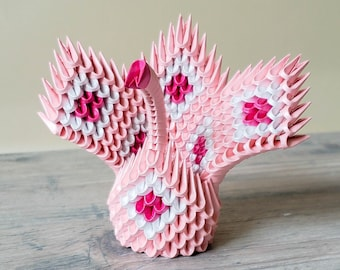 Pink and White 3D Origami Swan ~ Pink and White Diamond Pattern with Dark Pink Accents