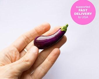 Eggplant brooch, funny bright jewelry, purple vegetables vegetarian veggie fashion jewelry, vegan pin
