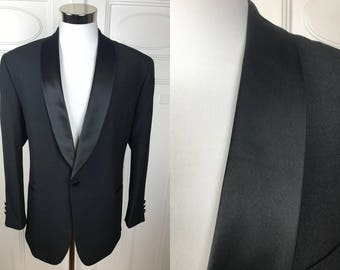 Tuxedo Jacket, Black Dinner Jacket w Silk Shawl Lapel, Danish Vintage Smoking Jacket, European Tux Blazer, Size: Large, (40 Short US/UK)