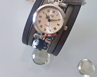 Watch bracelet, fashion accessories, dark blue grey leather cuff, women, personalized accessories, liberty