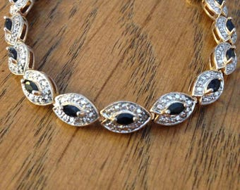 Sapphire Sterling Silver and Gold Bracelet