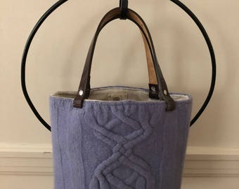 Periwinkle Cable Felted Tote Bag