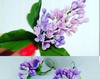lilac barrette, cold porcelain, lilac hairclip, groom lilac, rustic girl, bridesmaids lilac, lilac comb, lilac earrings