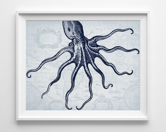For Nautical Bathroom Art: Nautical Bathroom Decor Nautical Octopus Art Print Sea Life