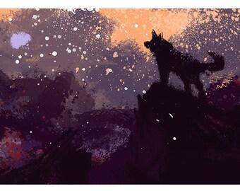 Moon. Digital print on canvas painting framed.