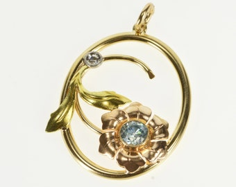 14K Two Tone Blue Topaz Diamond Flower Oval Pendant Yellow Gold