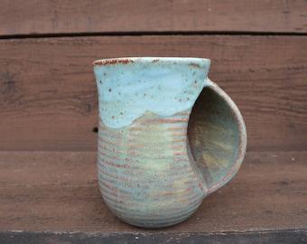 Earth Tone Ceramic Hug a Mug - Flowing Spring Green - Coffee / Tea Grooved Mug - #2