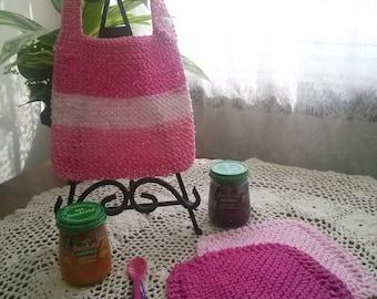 Shades of Pink Hand Knit Baby Bib and Washcloth Set