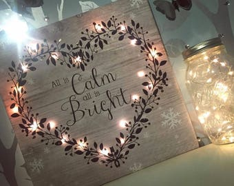 All Is Calm All Is Bright Christmas Decor Decoration LED Light Up Canvas