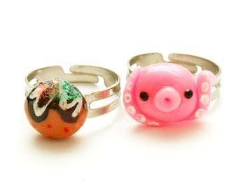 Kawaii ring, novelty ring, food jewelry, octopus jewelry, takoyaki, polymer clay, handmade, miniature food, takochu, octopi, squid, Japanese