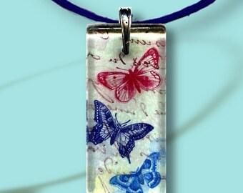 Art and Glass-Reversible Glass Art Necklaces- Butterflies in flight