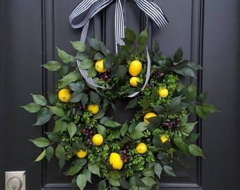 SPRING WREATHS, Lemons Wreath, Yellow Lemons Wreath, Boxwood and Lemons, Blueberries and Lemons, Summer Door Wreaths, Front Porch Wreaths