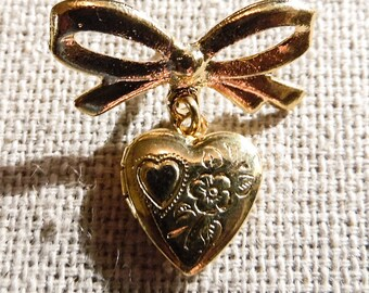 Hand Engraved Heart Locket with Bow Pin