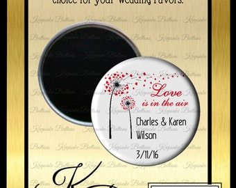 "Wedding Favor Magnets, 2.25"" Wedding Magnet, Love Is In The Air Wedding Favor, Custom Wedding Favors, Wedding Keepsake, Refrigerator Magnet,"