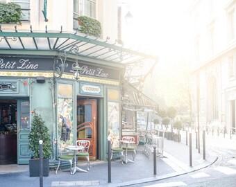 Paris Photography - Morning at Le Petit Zinc, Paris Home Decor, Paris Wall Art, Travel Fine Art Photograph, Kitchen Art, Large Wall Art