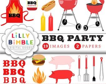Barbecue Party clipart gingham hot dog, hamburger, grill, picnic, mustard, ketchup, BBQ supplies apron Picnic Download