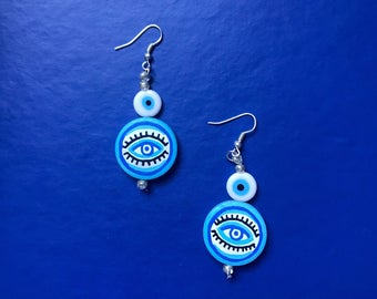 The Eye ~ hand painted dangly earrings
