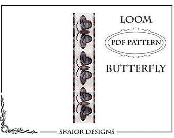 Loom Bead Pattern Bracelet Butterfly Bracelet Square Stitch Pattern Tribal Seed Beads Beading Pattern red blue Fantasy Nature Bead Weaving