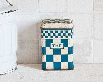 French Thé store box - Blue Checkerboard Lithographed decorative tin - Retro kitchen metal canister
