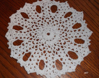 Crocheted White Doily (007)
