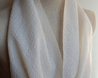 Handwoven Snow White Lace Scarf