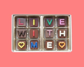 Would You Marry Me Chocolate Message Cute Proposal Idea Girlfriend Gift for Her Fun Boyfriend Gift for Him Live With Me Jelly Beans Cube