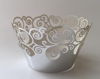 12 pcs Beautiful Metallic Shiny Silver Lace Wedding Swirl Filigree Cupcake Liners Liner Baking Cup Cupcake Wrapper Wrappers silver Cupcake