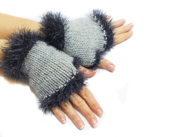 Grey Fingerless Gloves, Gift for her, Hand knit fingerless gloves, Lolita Gloves, Chic, Boho knit glove mittens