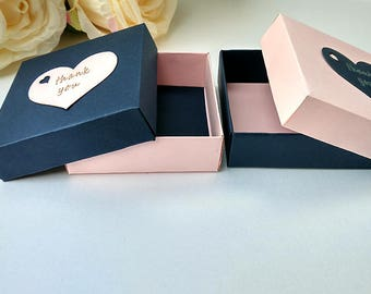 Gift box, 10 gift boxes, wedding favor boxes, jewelry packaging, pink packaging boxes, gift box, navy blue boxes, bridesmaid gift box,