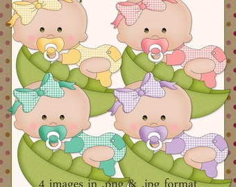 Peapod Babies Brown Eyes - Digital Images for use in Scrapbook and Paper Crafts