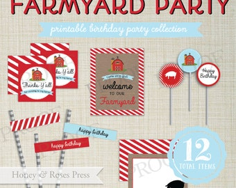 Rustic Farm Party Package  . Barnyard Bash Party Decor . Farm Party Decorations . Birthday Party . Printable Party Decorations