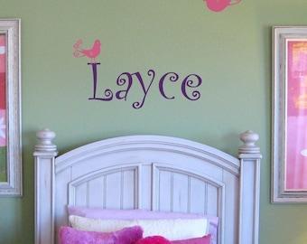 Custom Name Swirly Bird Wall Decal
