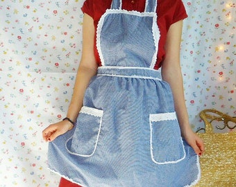 Vintage Blue and White Gingham Apron