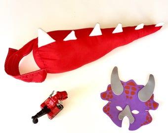Handmade Red Dinosaur Tail