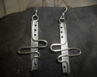 Textured sterling silver earrings