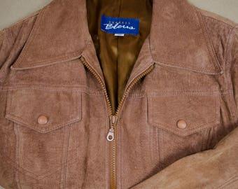 Vintage Camel Leather Jacket- Vintage Leather Jacket, Vintage Suede Jacket, 90s Leather Jacket, 90s Suede Jacket, Zip Up Leather Jacket, 90s