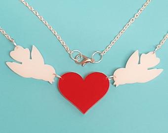 Lovebirds Heart Necklace - Acrylic