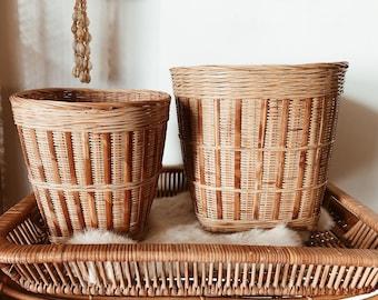 Vintage Wicker Baskets • Planters • Set of 2