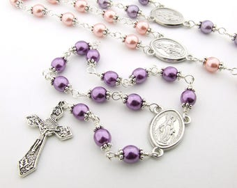Catholic Rosary Beads - Miraculous Medal Wire Wrapped Purple Pink Pearl Beads One Decade Rosary Tenner Single Decade Rosary - Catholic Gift