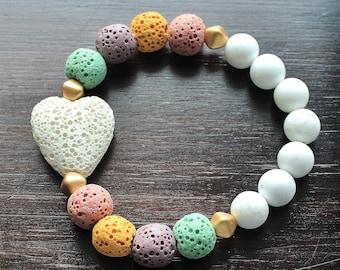 Unicorn Bracelet, Heart Bracelet, Unicorn Jewelry, Pastels, Unicorn diffuser bracelet, Aromatherapy, Teen Gift, Girl Gift, Lava Rock, oils