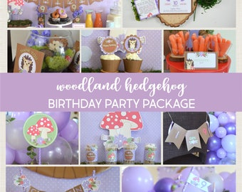 Woodland Birthday Party Package | Hedgehog Party Package | Woodland Creatures Party Package | Printable Party Decorations | Forest Birthday