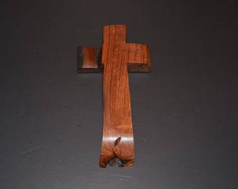 "Wood Cross; Christian Gift; Home Decor; Wood Gifts; Wedding Gift; Live Edge; Mesquite;4.5""x9""x1""; Free Ground Shipping USA; cc20-2061617"